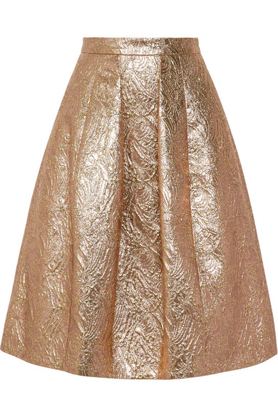 Oscar de la Renta - Pleated Metallic Brocade Skirt - Gold