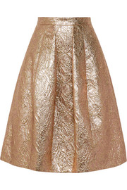 Oscar de la Renta Pleated metallic brocade skirt