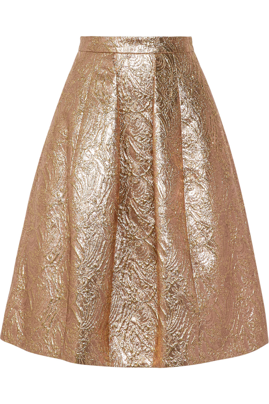 Oscar De La Renta Pleated Metallic Brocade Skirt, Gold, Women's, Size: 2