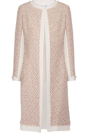 Canvas-trimmed metallic tweed coat