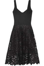 Oscar de la Renta Stretch-jersey and guipure lace dress