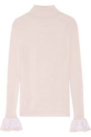 Oscar de la Renta Silk-chiffon and lace-trimmed wool turtleneck sweater
