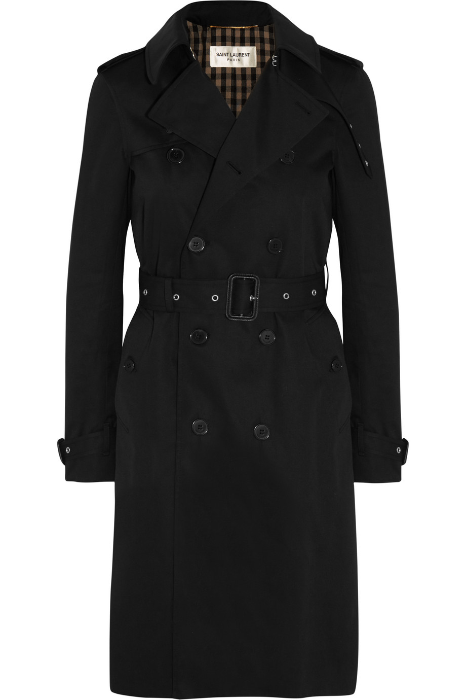 Saint Laurent Gabardine Trench Coat, Black, Women's, Size: 36
