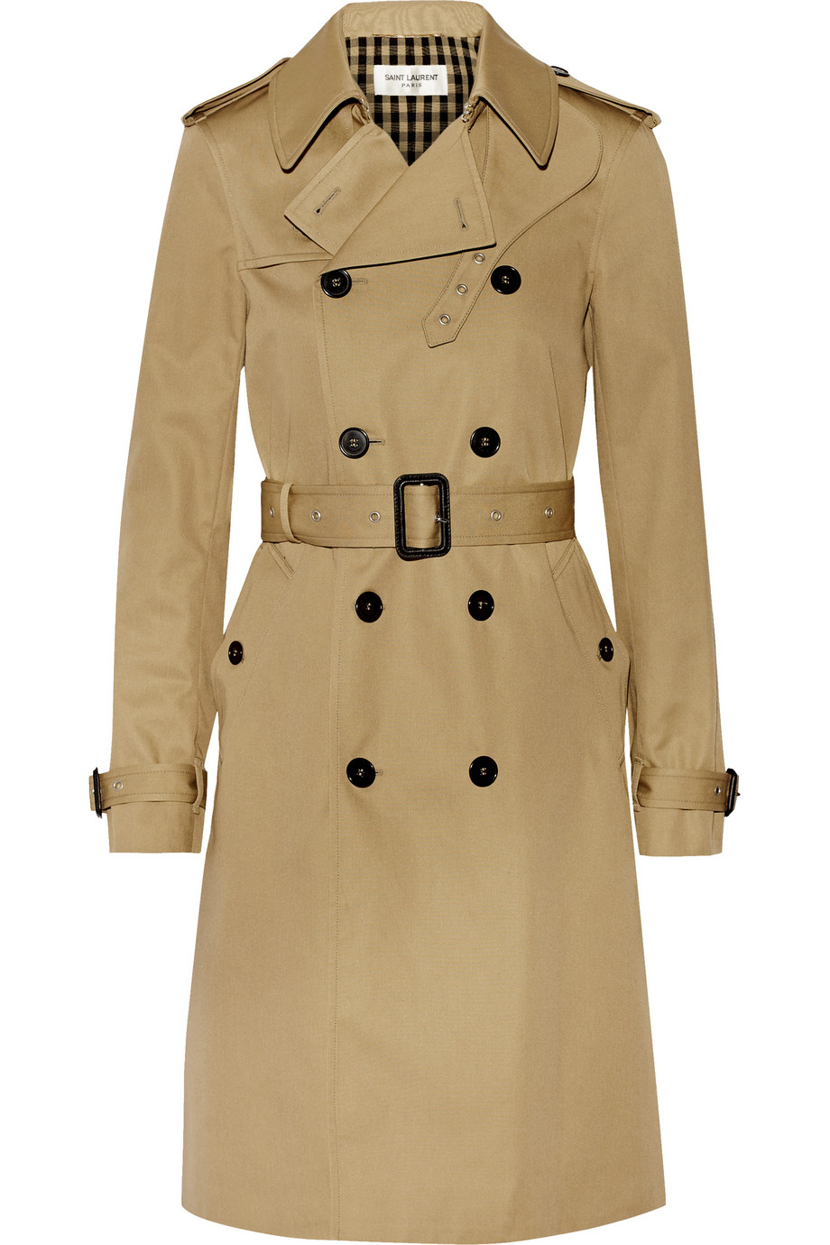 Saint Laurent Gabardine Trench Coat, Beige, Women's, Size: 40