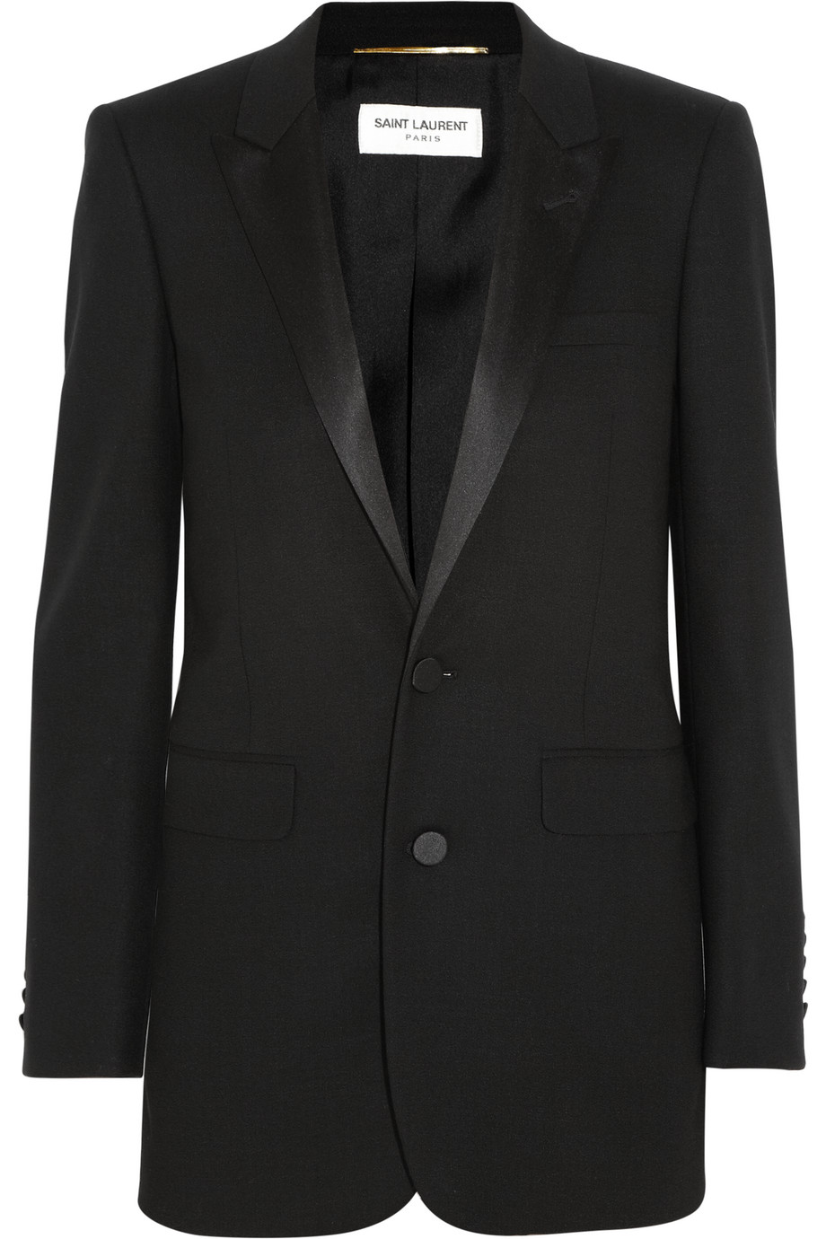 Saint Laurent Satin-Trimmed Wool-Crepe Tuxedo Blazer, Black, Women's, Size: 42