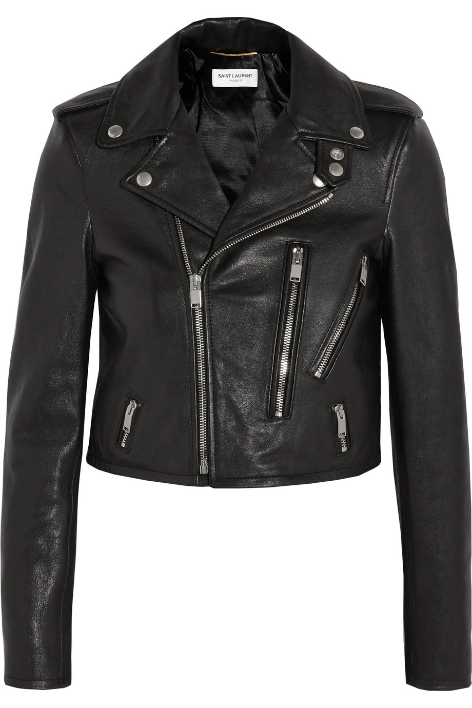 Saint Laurent Leather Biker Jacket, Black, Women's, Size: 42