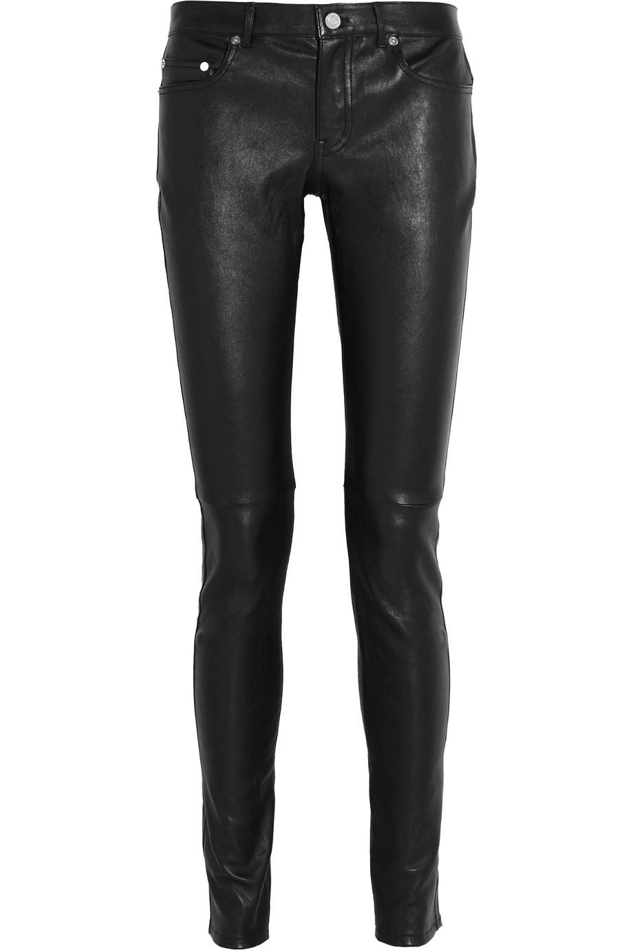 Saint Laurent Stretch-Leather Skinny Pants, Black, Women's, Size: 34