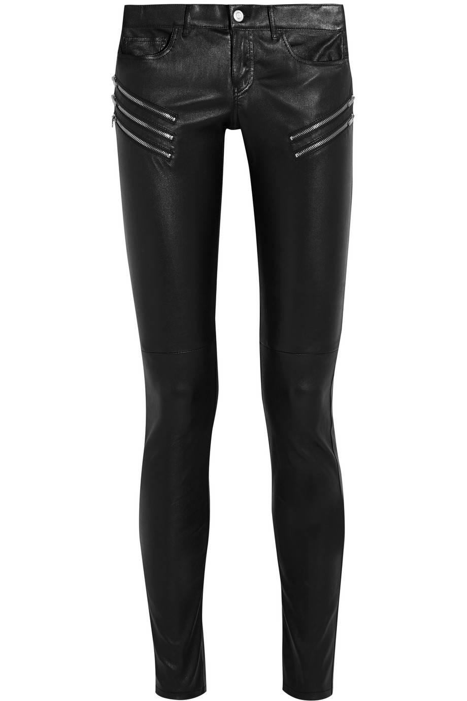 Saint Laurent Leather Skinny Pants, Black, Women's, Size: 42