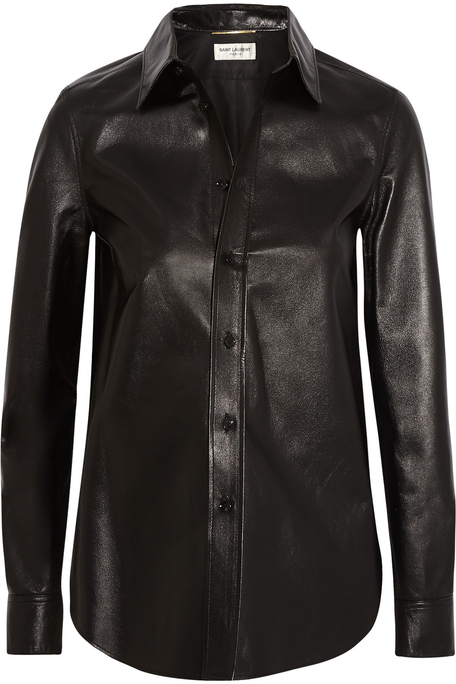 Saint Laurent Glossed-Leather Shirt, Size: 38