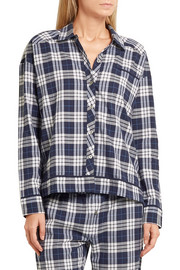 Plaid Pima cotton pajama shirt