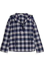 Hooded plaid Pima cotton pajama top