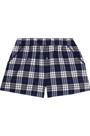 Plaid Pima cotton pajama shorts