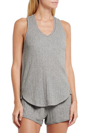 Lace-trimmed ribbed Pima cotton pajama top