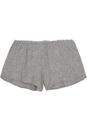 Lace-trimmed ribbed Pima cotton pajama shorts