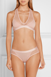 Tulle-trimmed Pima cotton-jersey briefs