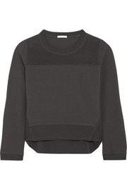 Paneled cotton-blend sweater