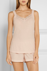 Lace-trimmed cotton-gauze pajama top