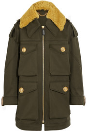 Burberry Oversized shearling-trimmed cotton parka