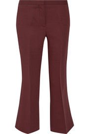 Cropped wool and silk-blend straight-leg pants