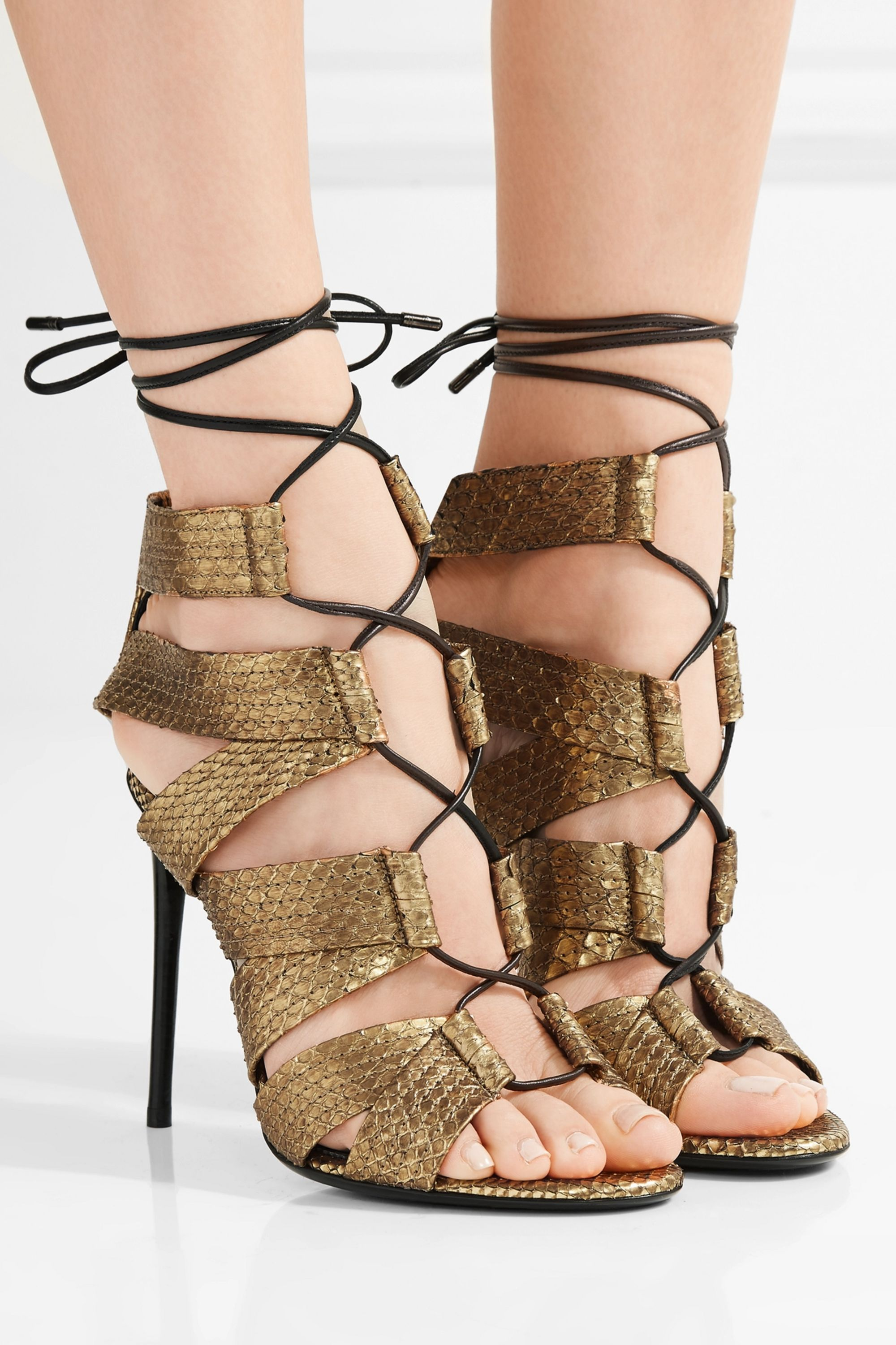 TOM FORD Lace-up metallic python sandals