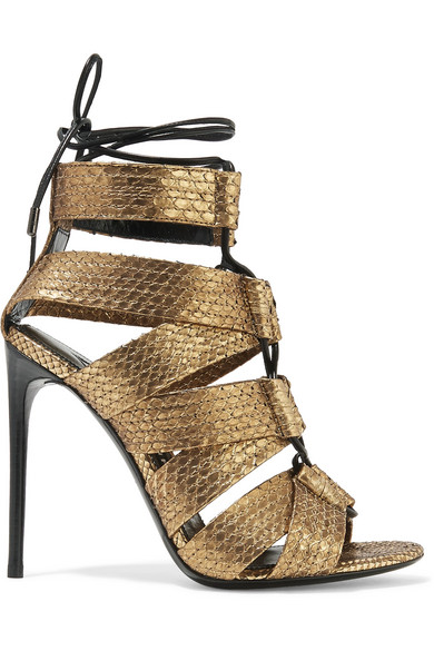 TOM FORD - Lace-up Metallic Python Sandals - Gold