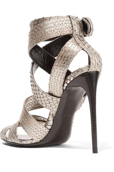 TOM FORD High heels Metallic python sandals
