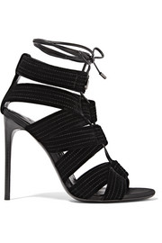 Lace-up leather-trimmed velvet sandals