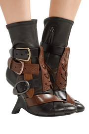 Buckled stretch-leather ankle boots