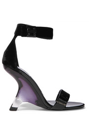 Patent-leather and velvet sandals