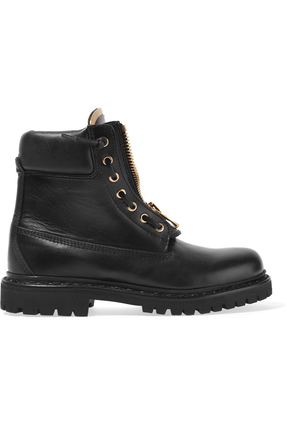 Balmain Leather Combat Boots, Black, Women's US Size: 7.5, Size: 39