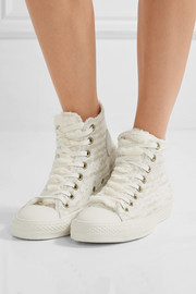 Chuck Taylor All Star faux shearling-trimmed knitted high-top sneakers