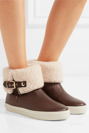 London shearling-lined textured-leather ankle boots