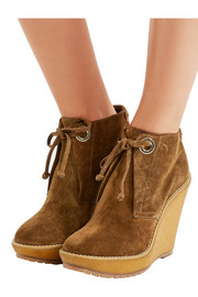 London suede wedge boots