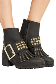 Burberry Studded coated-leather ankle boots