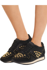 Burberry Satin-trimmed studded suede sneakers