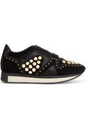 Satin-trimmed studded suede sneakers