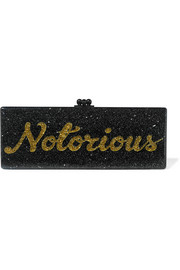 Flavia Notorious glittered acrylic box clutch