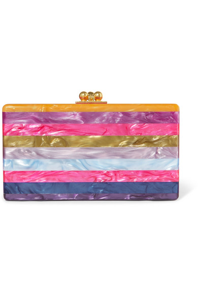 Edie Parker - Jean Striped Glittered Acrylic Box Clutch - Fuchsia