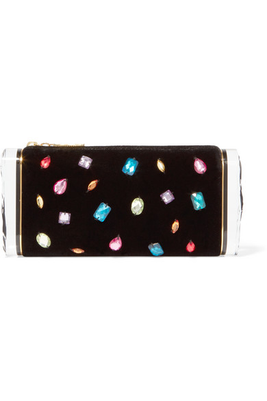 Edie Parker - Soft Lara Crystal-embellished Velvet And Acrylic Box Clutch - Black