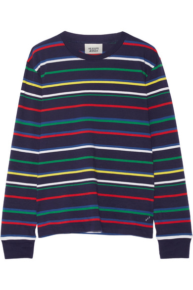 Sleepy Jones - Stevie Striped Cotton-jersey Pajama Top - Navy