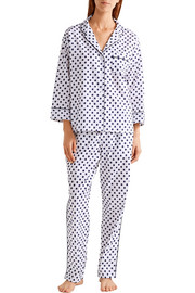 Marina Swiss-dot cotton-poplin pajama set