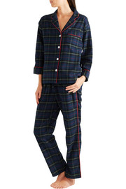 Marina plaid brushed-cotton pajamas