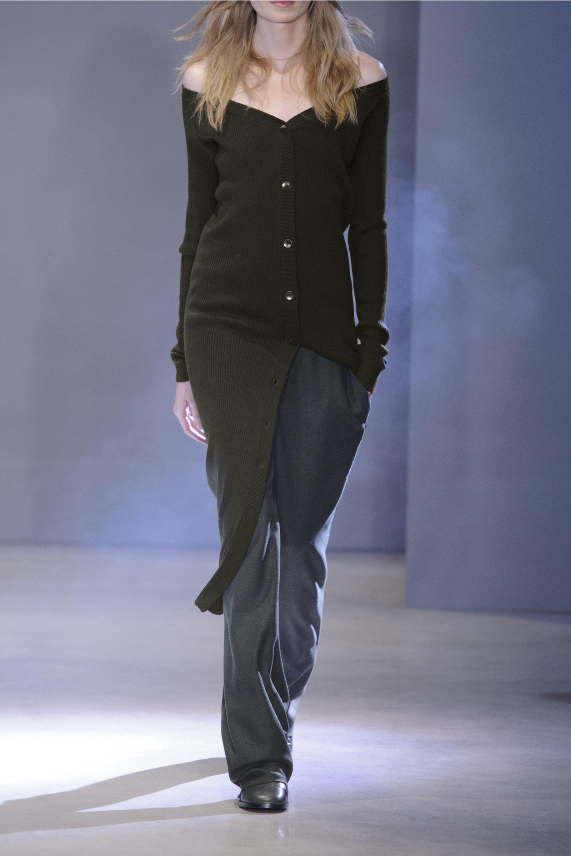 Tibi Off-the-shoulder ribbed merino wool midi dress