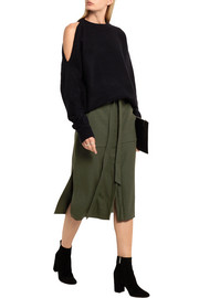 Belted twill midi skirt