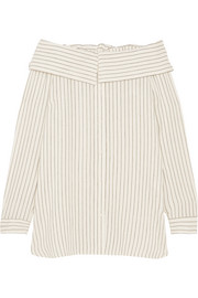 Off-the-shoulder striped woven top