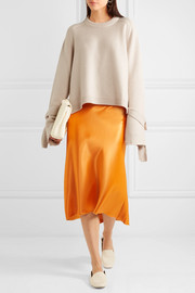 Silk-paneled cashmere sweater