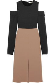 Tibi Cutout two-tone stretch-crepe dress