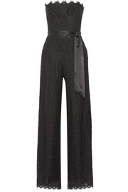 Satin-trimmed corded lace jumpsuit