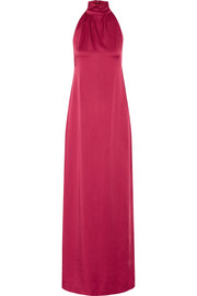 Darby open-back satin-crepe halterneck gown