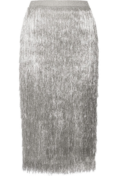 Rachel Zoe - Delliah Metallic Fringed Knitted Skirt - Silver